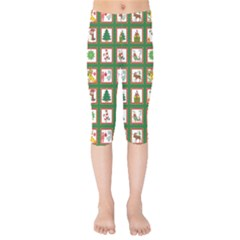 Christmas Paper Christmas Pattern Kids  Capri Leggings