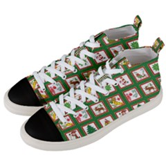 Christmas Paper Christmas Pattern Men s Mid Top Canvas Sneakers by Pakrebo