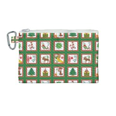 Christmas Paper Christmas Pattern Canvas Cosmetic Bag (medium)