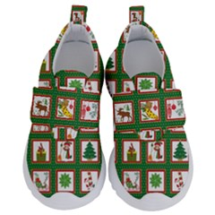 Christmas Paper Christmas Pattern Kids  Velcro No Lace Shoes
