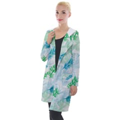 Pattern Feather Fir Colorful Color Hooded Pocket Cardigan