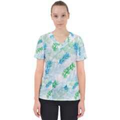 Pattern Feather Fir Colorful Color Women s V Neck Scrub Top