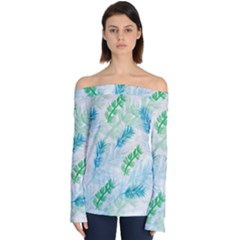 Pattern Feather Fir Colorful Color Off Shoulder Long Sleeve Top by Pakrebo