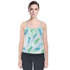 Pattern Feather Fir Colorful Color Velvet Spaghetti Strap Top