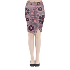Background Floral Flower Stylised Midi Wrap Pencil Skirt