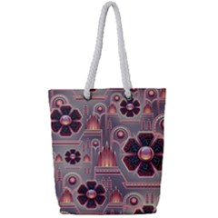 Background Floral Flower Stylised Full Print Rope Handle Tote (small)