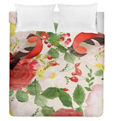 Christmas Bird Floral Berry Duvet Cover Double Side (queen Size)