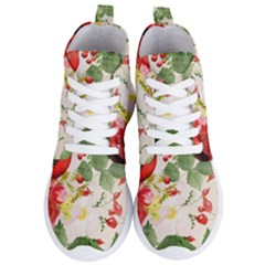 Christmas Bird Floral Berry Women s Lightweight High Top Sneakers