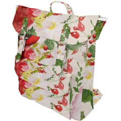 Christmas Bird Floral Berry Buckle Up Backpack by Pakrebo