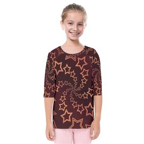 Gold Stars Spiral Chic Background Kids  Quarter Sleeve Raglan Tee by Pakrebo