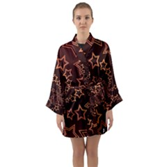 Gold Stars Spiral Chic Background Long Sleeve Kimono Robe