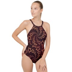 Gold Stars Spiral Chic Background High Neck One Piece Swimsuit