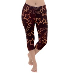 Gold Stars Spiral Chic Background Lightweight Velour Capri Yoga Leggings