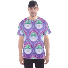 Background Floral Pattern Purple Men s Sports Mesh Tee