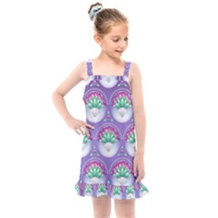 Background Floral Pattern Purple Kids  Overall Dress