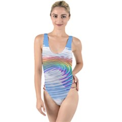 Rainbow Clouds Intimacy Intimate High Leg Strappy Swimsuit