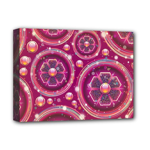 Abstract Background Floral Glossy Deluxe Canvas 16  X 12  (stretched)