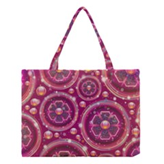 Abstract Background Floral Glossy Medium Tote Bag