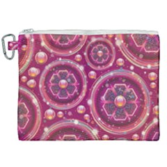 Abstract Background Floral Glossy Canvas Cosmetic Bag (xxl)