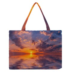 Sunset Dawn Sea Sun Nature Zipper Medium Tote Bag