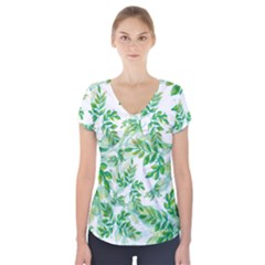 Leaves Green Pattern Nature Plant Short Sleeve Front Detail Top