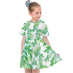 Leaves Green Pattern Nature Plant Kids  Sailor Dress by Pakrebo