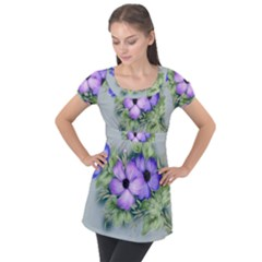 Flowers Vector Illustration Figure Puff Sleeve Tunic Top