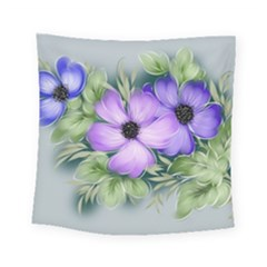 Flowers Vector Illustration Figure Square Tapestry (small) by Pakrebo