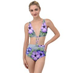 Flowers Vector Illustration Figure Tied Up Two Piece Swimsuit