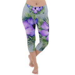 Flowers Vector Illustration Figure Lightweight Velour Capri Yoga Leggings