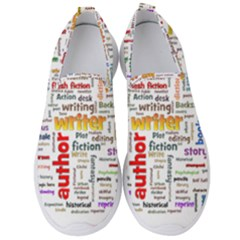 Writing Author Motivation Words Men s Slip On Sneakers by Pakrebo