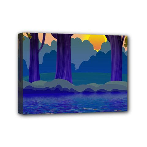 Illustration Vector Forest Nature Mini Canvas 7  X 5  (stretched)