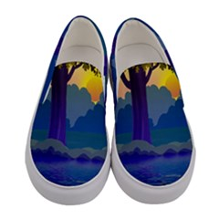 Illustration Vector Forest Nature Women s Canvas Slip Ons