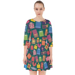 Presents Gifts Background Colorful Smock Dress