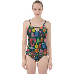 Presents Gifts Background Colorful Cut Out Top Tankini Set