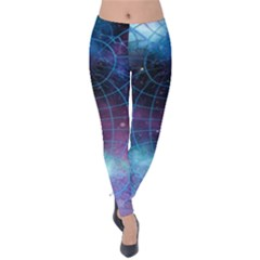 Network Earth Block Chain Globe Velvet Leggings by Pakrebo