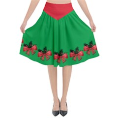 Green And Red Ugly Xmas Flared Midi Skirt With Golden Christmas Bells Decorations Arrangement And Red Ribbon by cglightNingART