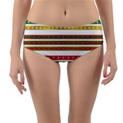 Christmas Ribbons Christmas Gold Reversible Mid Waist Bikini Bottoms