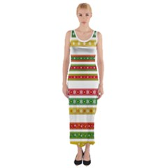 Christmas Ribbons Christmas Gold Fitted Maxi Dress
