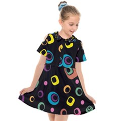 Abstract Background Retro 60s 70s Kids  Short Sleeve Shirt Dress