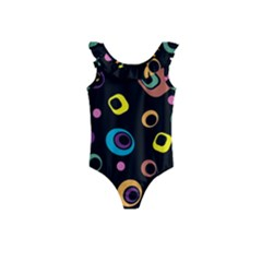 Abstract Background Retro 60s 70s Kids  Frill Swimsuit