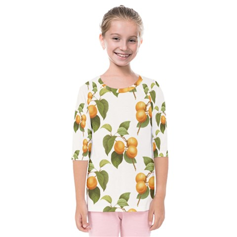Apricot Fruit Vintage Art Kids  Quarter Sleeve Raglan Tee by Pakrebo