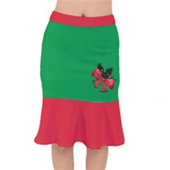 Red And Green Ugly Xmas Short Mermaid Skirt With Golden Christmas Bells Decorations And Red Ribbon by cglightNingART