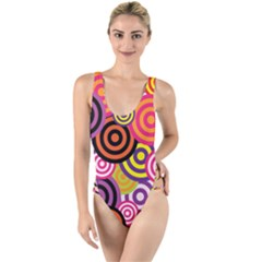 Abstract Circles Background Retro High Leg Strappy Swimsuit