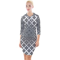 Background Pattern Halftone Quarter Sleeve Hood Bodycon Dress