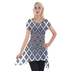 Background Pattern Halftone Short Sleeve Side Drop Tunic