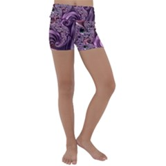Abstract Art Fractal Art Fractal Kids  Lightweight Velour Yoga Shorts by Pakrebo
