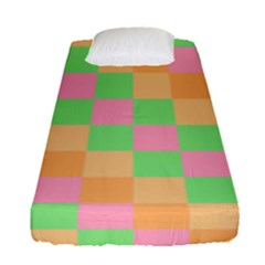 Checkerboard Pastel Squares Fitted Sheet (single Size)