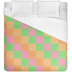 Checkerboard Pastel Squares Duvet Cover (king Size)