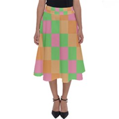 Checkerboard Pastel Squares Perfect Length Midi Skirt